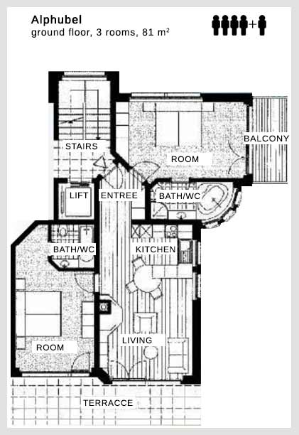 Floor plan apartment Alphubel Dolce Vita Saas-Fee
