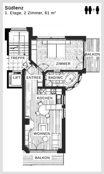 Grundriss Apartment Südlenz Dolce Vita Saas-Fee