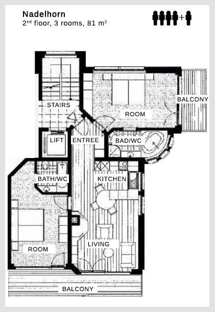 Floor plan apartment Nadelhorn Dolce Vita Saas-Fee