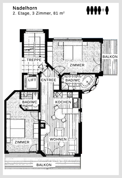 Grundriss Apartment Nadelhorn Dolce Vita Saas-Fee